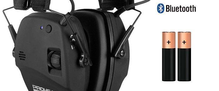 Protector auditivo con radio, funciona con pilas
